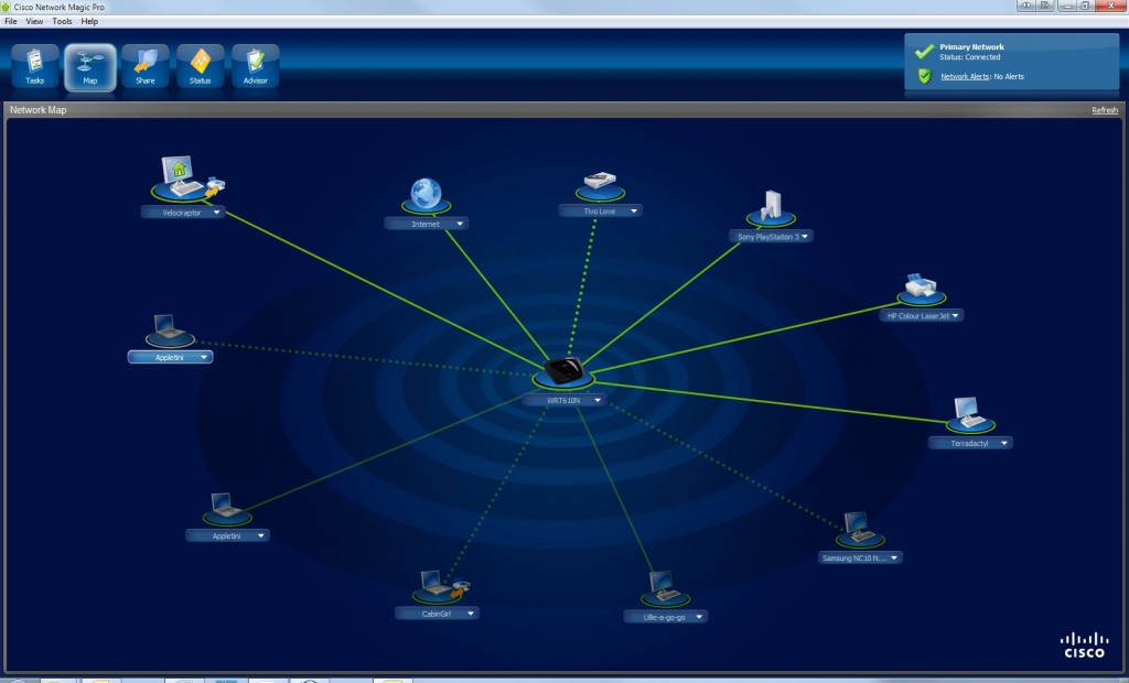 Router software has become far easier to use and more sophisticated. Cisco includes the excellent and elegant Network Magic with its routers.