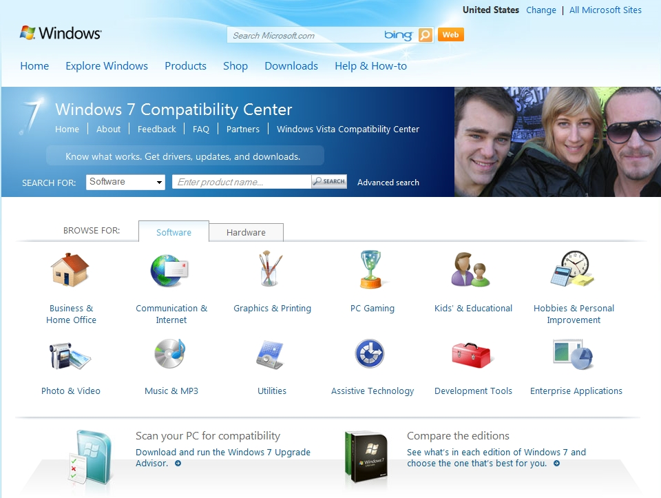 Use the Windows Compatibility Center site to check whether your favorite applications and hardware are compatible with Windows 7.