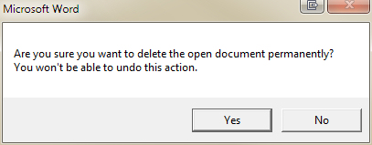 Deleting an open document in Microsoft Word | Geekgirl's Plain