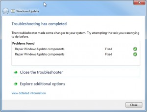 Using the Windows Update troubleshooter