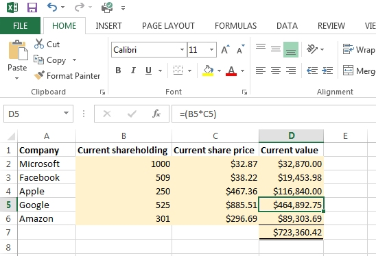 a stock portfolio spreadsheet